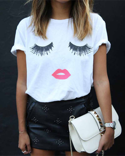 Rolled Sleeve Print T-shirt