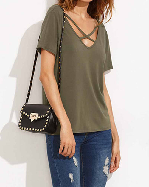 Army Green V Neck Cut out Criss Cross T-shirt