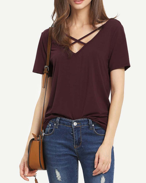 V Neck Cut out Criss Cross T-shirt