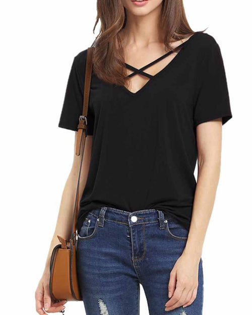 Black V Neck Cut out Criss Cross T-shirt