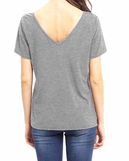 Grey V Neck Cut out Criss Cross T-shirt