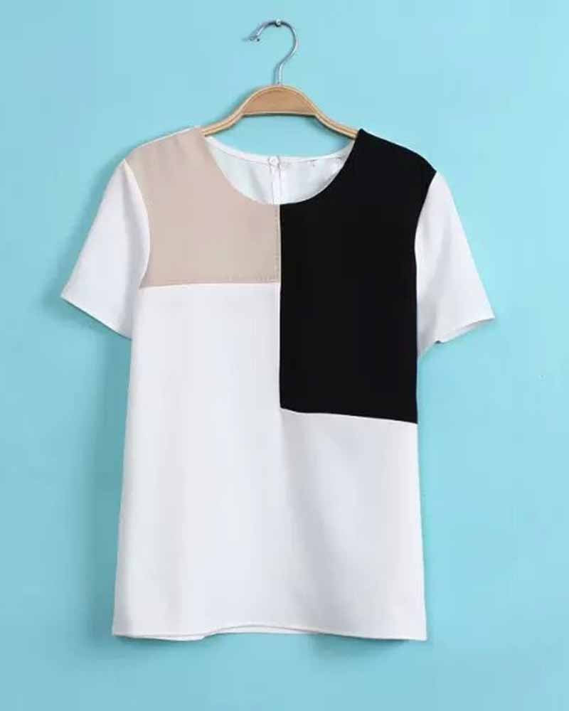 Color Block Contrast Crew Neck T-shirt