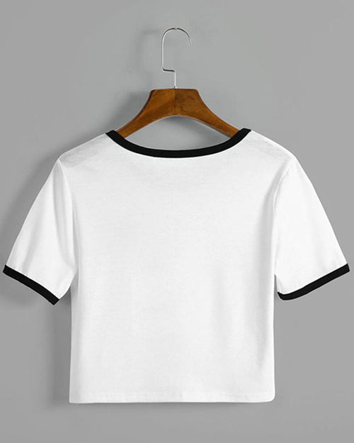 White Slogan Print Color Block Cropped T-shirt