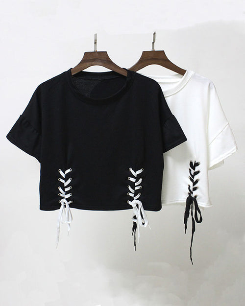Drop Shoulder Lace up Crop T-shirt