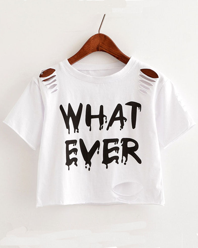 Slogan Print Cut Out Ripped Cropped T-shirt