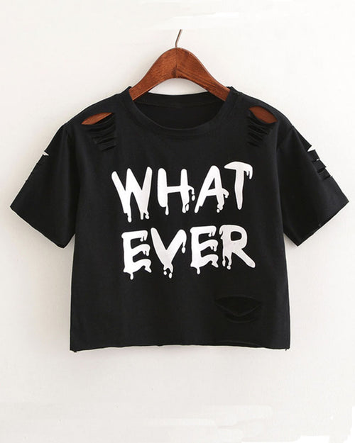 Black Slogan Print Cut Out Ripped Cropped T-shirt
