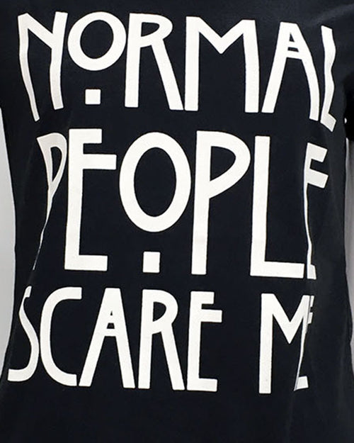 Slogan Print Crew Neck Rolled Sleeve T-shirt