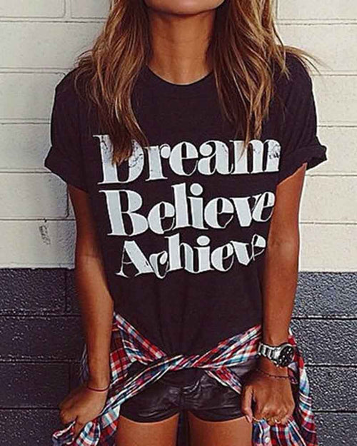 Slogan Print Rolled Sleeve Tee