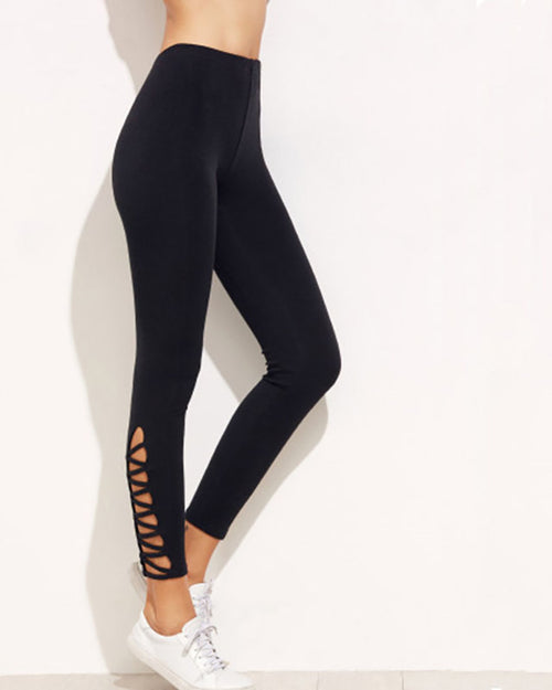High Waist Lace up Slim Fit Leggings