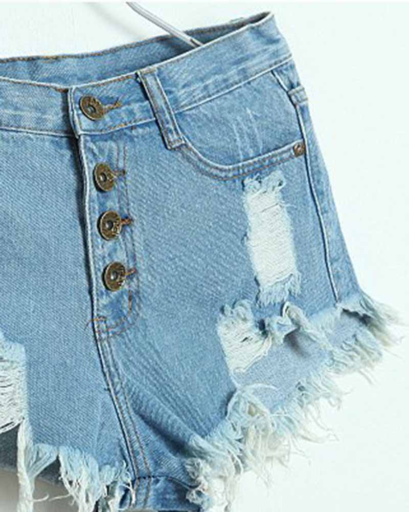 Distressed Raw Hem Cuffed Denim Shorts