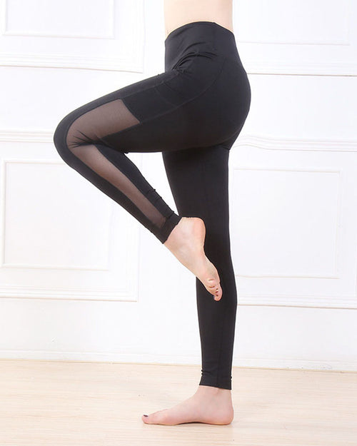 Active Mesh Contrast Panel Pockets Leggings
