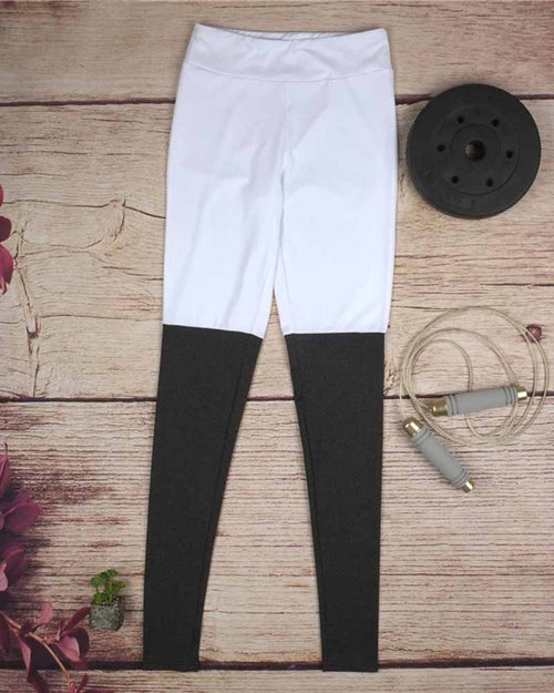 Color Block Contrast Elastic Leggings