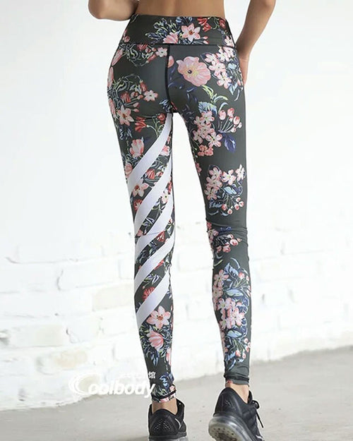 Multicolor Floral Print Stripped Leggings