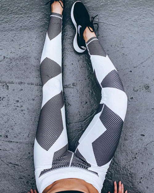 Color Block Honeycomb Pattern Geometric Print Leggings