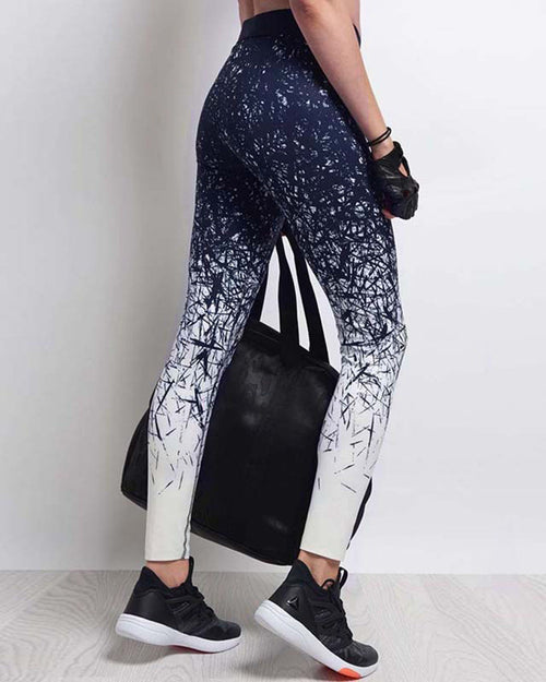 Navy Ombre Geometric Print Leggings