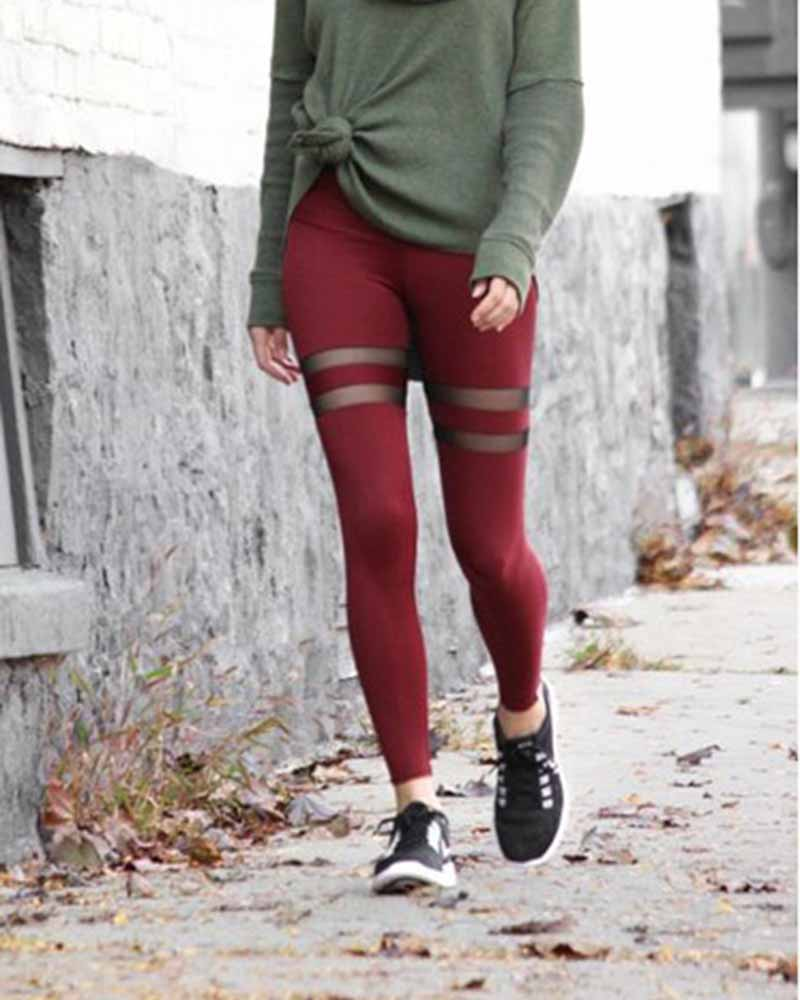 Mesh Contrast Hip-lifting Leggings