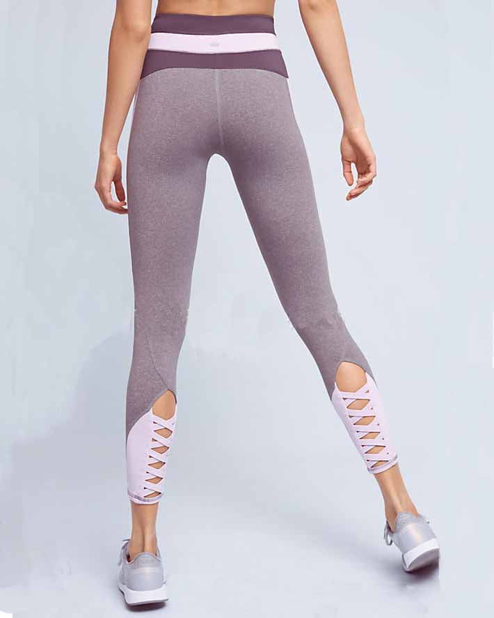 Active Lace Up Color Block Contrast Leggings