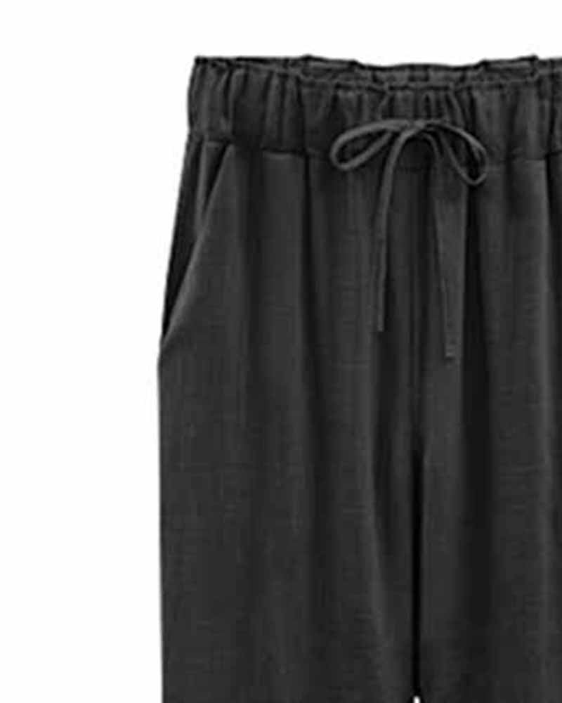 Drawstring Waist Ankle Pants