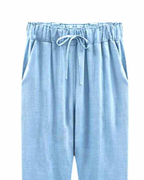 Blue Drawstring Waist Ankle Pants