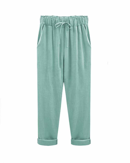 Green Drawstring Waist Ankle Pants