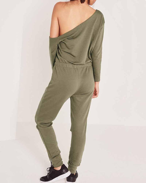 Army Green Cut Out Off the Shoulder Jumpsuit