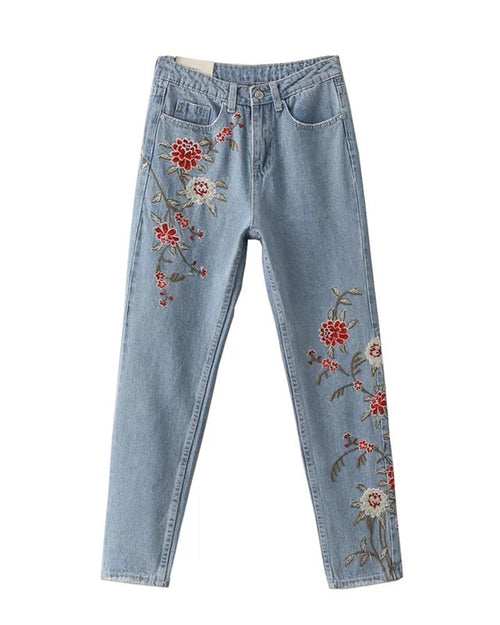 Floral Embroidered Detail Ankle Jeans