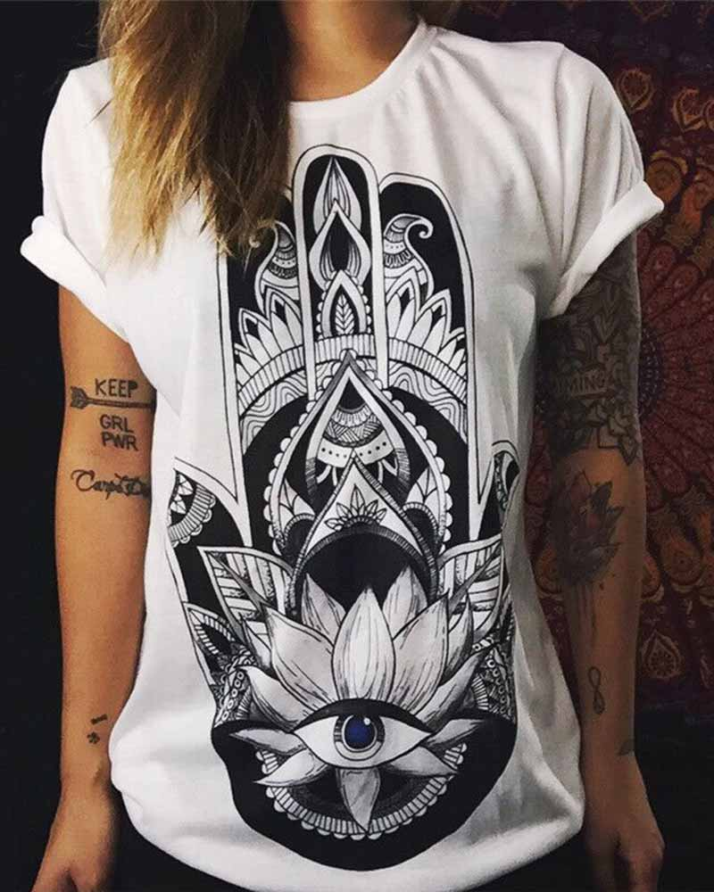Eye Graphic Print Rolled Sleeve T-shirt