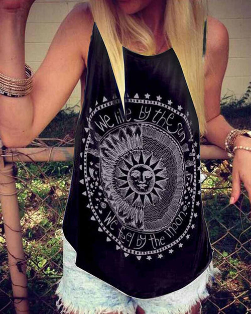 Black Sun Geometric Disk and Slogan Print Tank Top