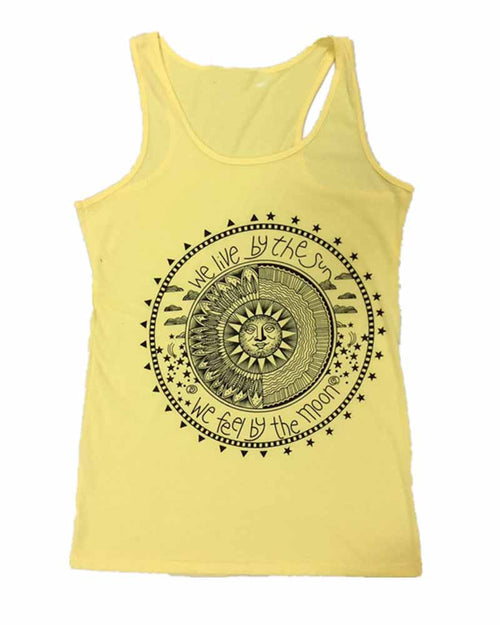 Sun Geometric Disk and Slogan Print Tank Top