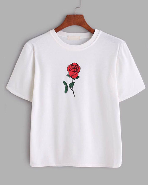 White Crew Neck Rose Print T-shirt