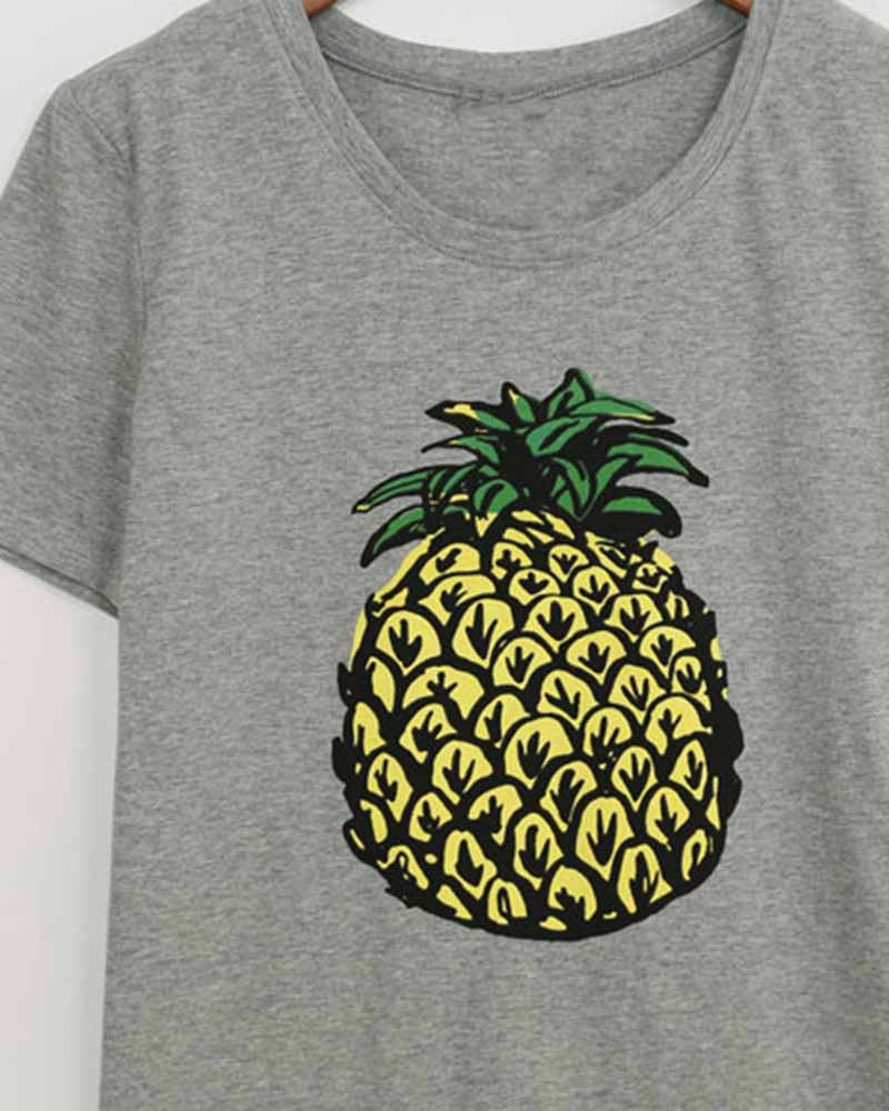 Pineapple Print Rolled Sleeve T-shirt