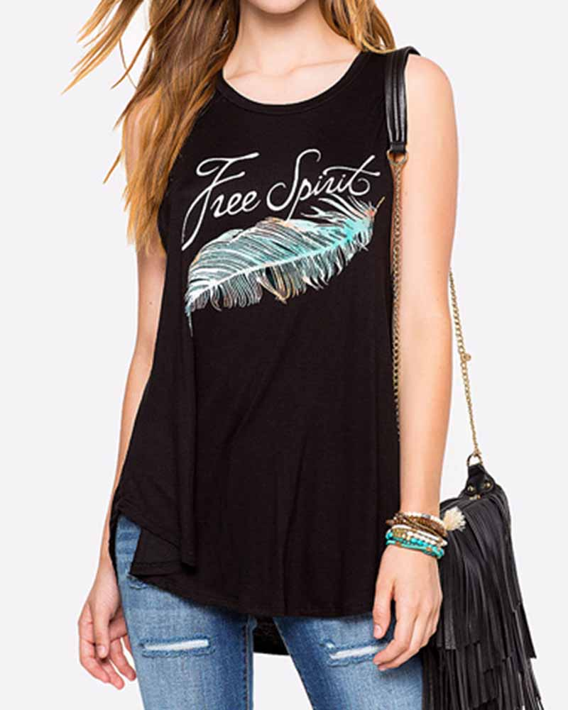 Feather and Slogan Print Dip Hem Tank Top
