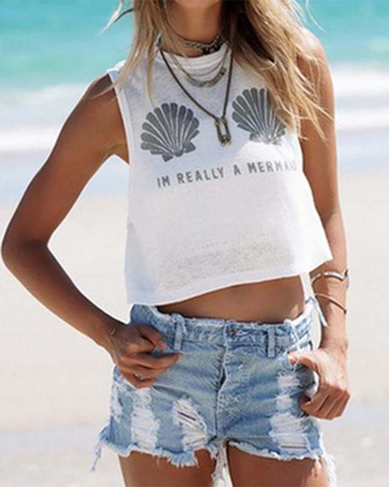 Shell and Slogan Print Crew Neck Crop Tank Top