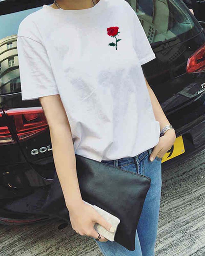 Crew Neck Floral Embroidered T-shirt
