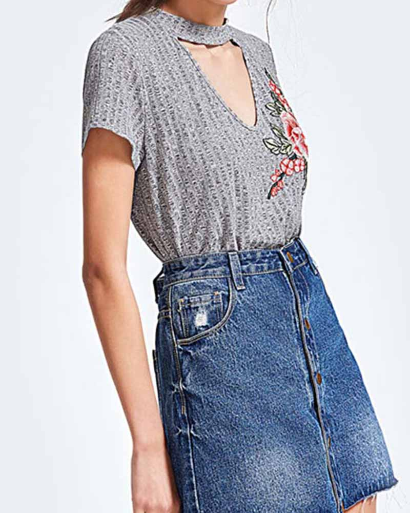 Floral Embroidered Cut Out Choker T-shirt
