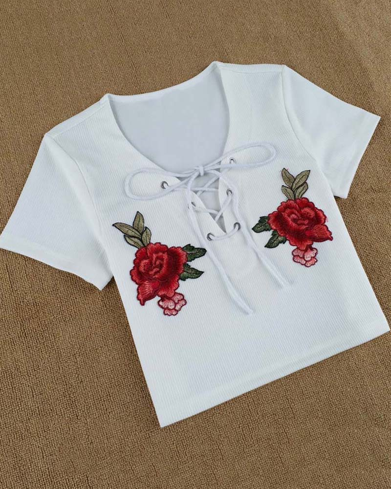 Floral Embroidered Patched Lace Up Crop T-shirt