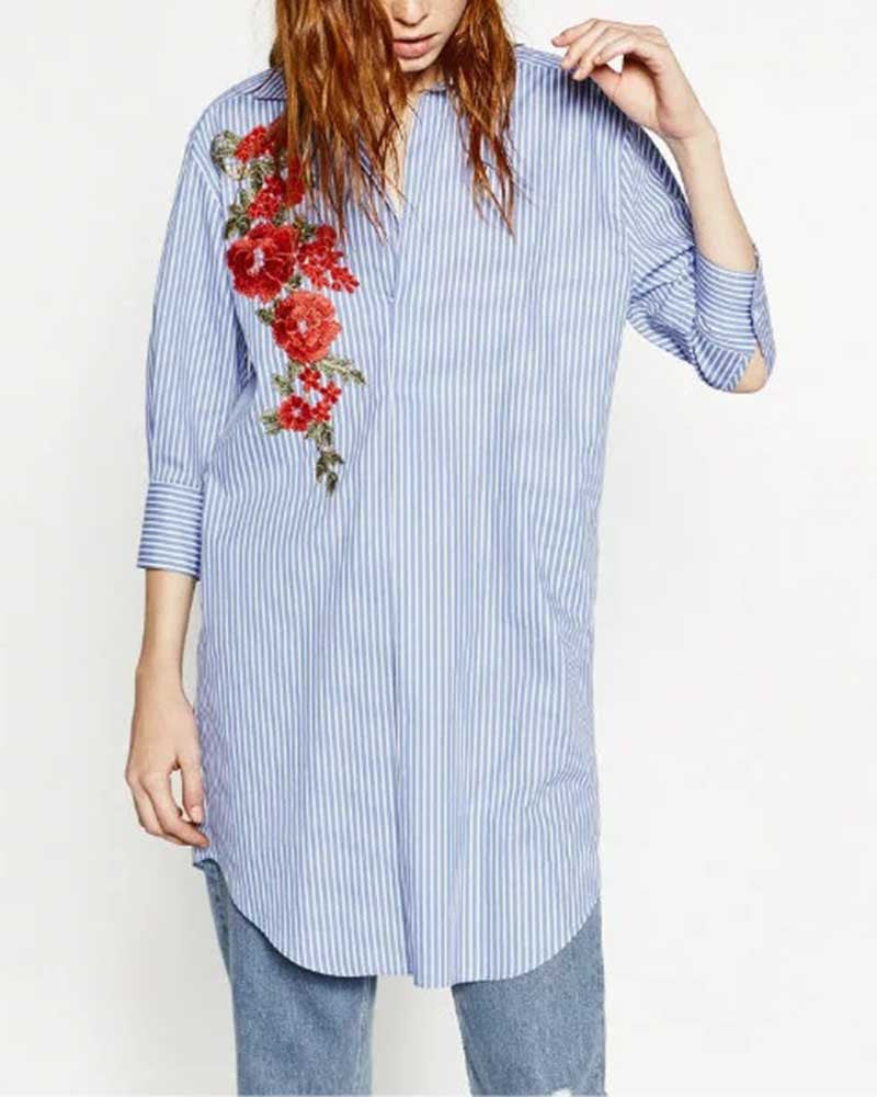 Casual Blue Stripes Floral Embroidery Blouse