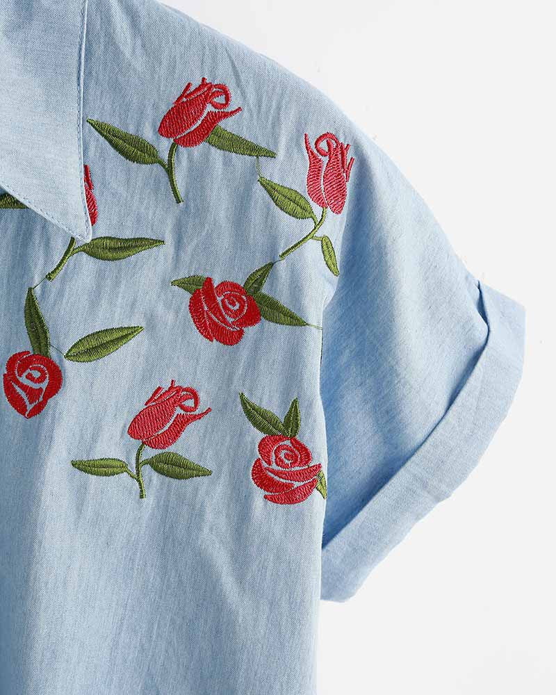 Rose Embroidered Knotted Front Denim Crop Blouse