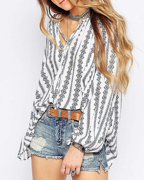 Bohemian Print Lantern Sleeve Lace Up Blouse