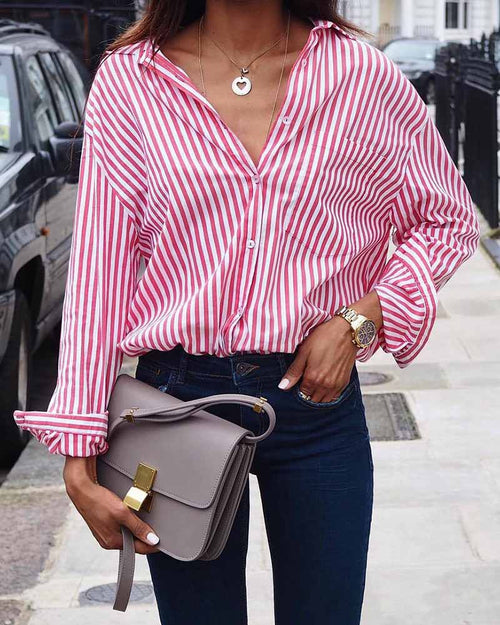 Basic Lapel Multicolor Pink Stripe Blouse