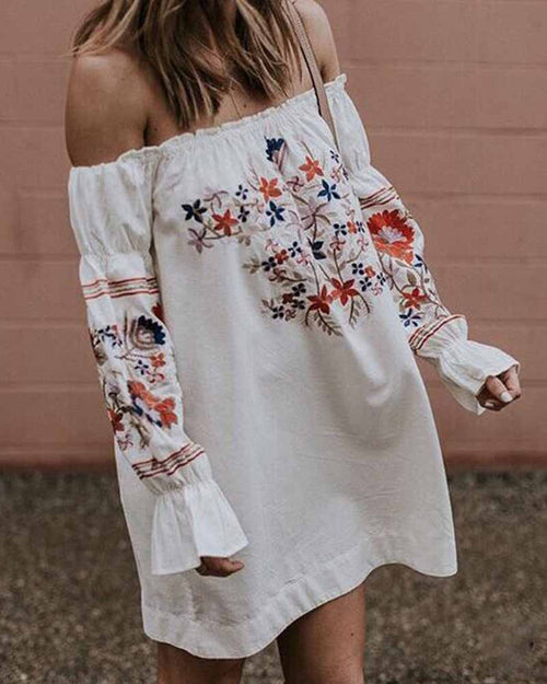 White Ruffle Off the Shoulder Flower Print Embroidered Dress