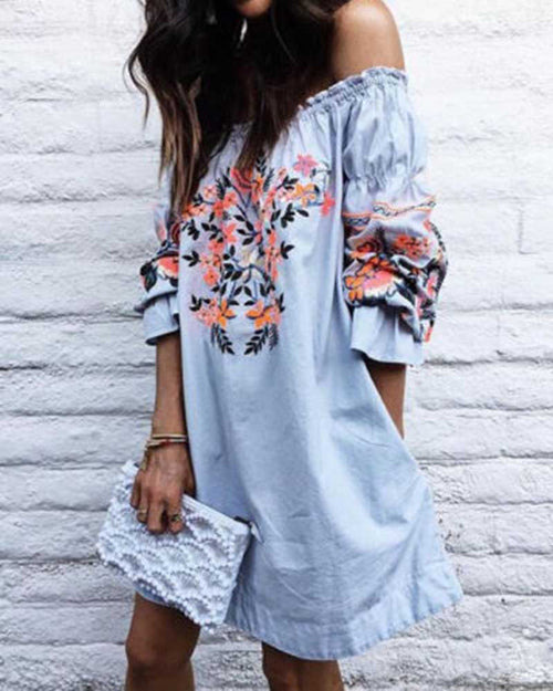 Ruffle Off the Shoulder Flower Print Embroidered Dress