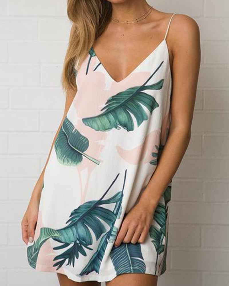 Leaf Print V Neck Cami Shift Dress