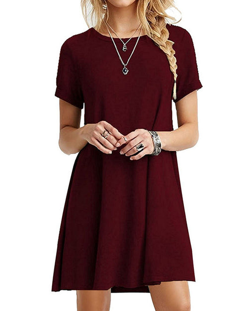 Basic Crew Neck Swing T-shirt Dress