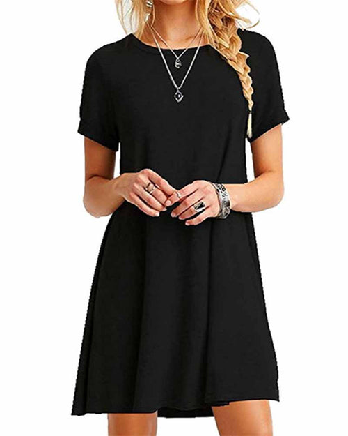 Basic Black Crew Neck Swing T-shirt Dress