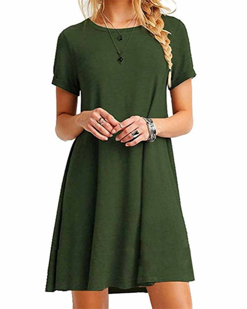 Army Green Crew Neck Swing T-shirt Dress