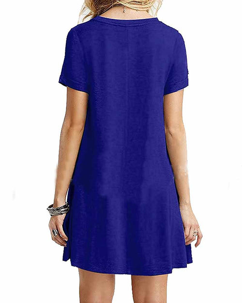 Basic Blue Crew Neck Swing T-shirt Dress