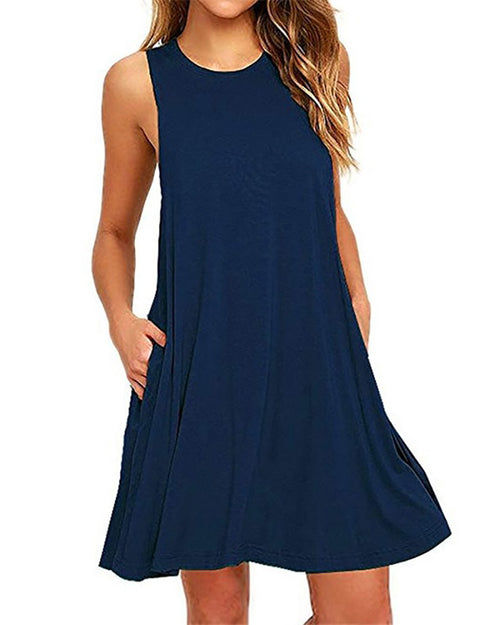 Casual Crew Neck Swing Tank Pocket Dress