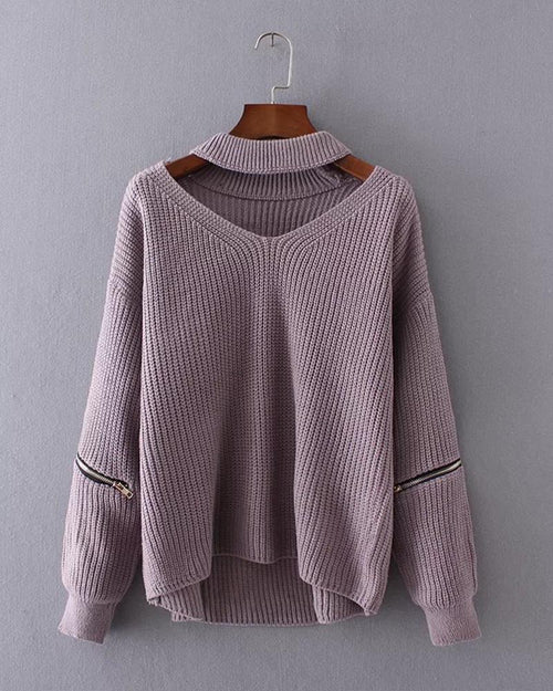 Choker Zip Sleeve V Neck Sweater