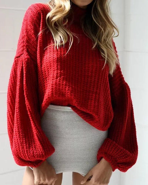 Casual Lantern Sleeve Crop Sweater